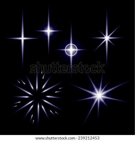 A set of shiny spark stars. Vector illustration for graphic channel. - stock vector