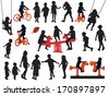 A set of silhouettes, children playing in a playground.  - stock vector
