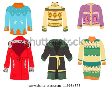A set of silhouettes of women's sweaters and etc. - stock vector