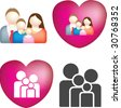 A set of 4 simple and bold vector family icons - stock vector