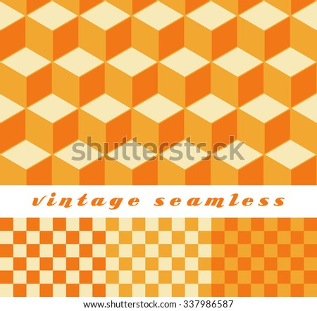 A set of simple cubic and check-board seamless tiles, coordinated patterns, in an optical illusion style orange color palette.  - stock vector