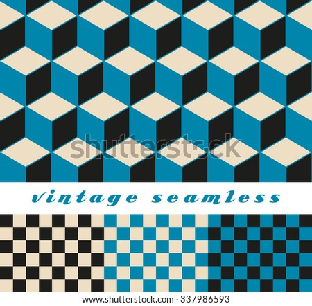 A set of simple cubic and check-board seamless tiles, coordinated patterns in an optical illusion style blue and black palette.  - stock vector
