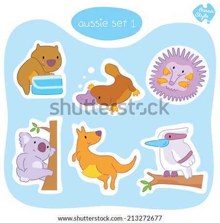 A set of six cute Australian animals in various poses, including wombat, platypus, echidna, koala, kangaroo and kookaburra. - stock vector