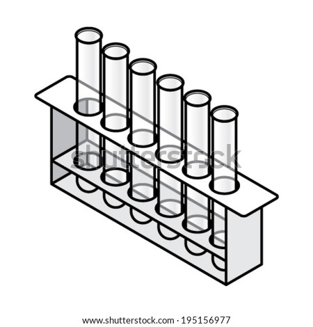 A set of six glass test tubes sitting in a rack. - stock vector