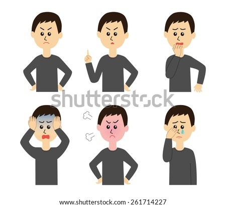 A set of six pose variations of unhappy young man, vector illustration - stock vector