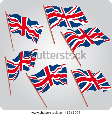 a set of six UK flags in various poses - stock vector
