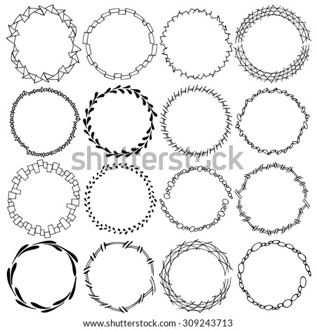 A set of sixteen round frames. Manual sketch. Isolated on a white background. Hand drawn design. Sprigs and swirls. Vector illustration - stock vector