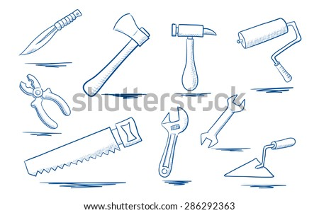 A set of sketches of tools for repairing - stock vector