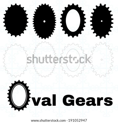 A set of solid and outline oval or elliptical gears - stock vector