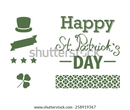 A set of St. Patrick's Day chalkboard style typographic design elements. - stock vector