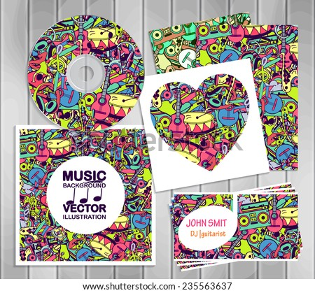 A set of templates corporate identity: the drive, business cards and postcards. Vector design elements: notes, musical instruments, lifestyle, music. Illustration contains seamless pattern - stock vector