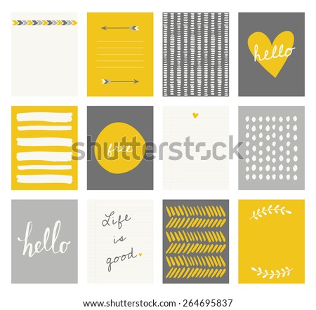 A set of 12 templates for greeting cards in yellow, gray and white. Floral designs, hand lettering and abstract brush stroke patterns with space for text. - stock vector