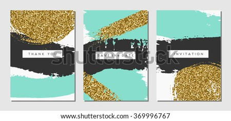 A set of three abstract brush stroke designs in black, turquoise and gold glitter texture. Invitation, greeting card, poster design templates. - stock vector