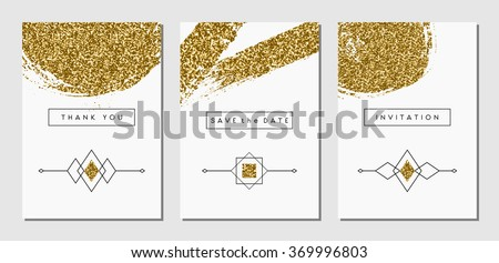 A set of three gold glitter abstract brush stroke designs and linear ethnic elements. Invitation, greeting card, poster design templates. - stock vector