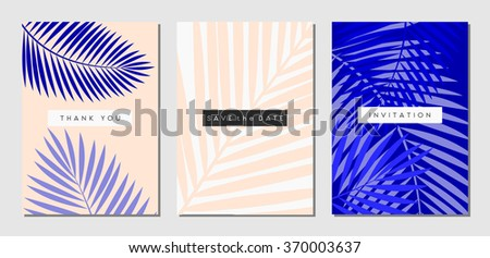 A set of three tropical foliage designs in white, pastel pink and purple. Invitation, greeting card, poster design templates. - stock vector