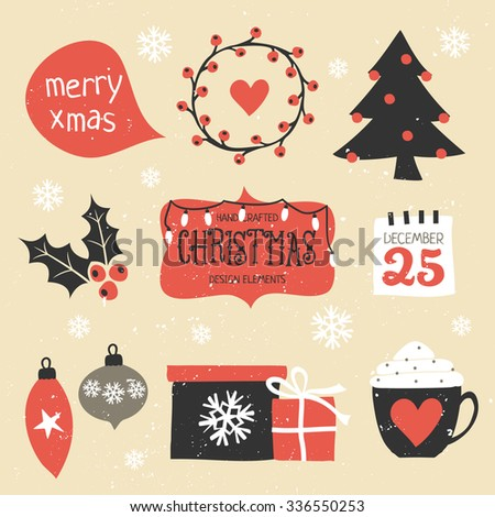 A set of traditional Christmas design elements in vintage red, black and white. - stock vector