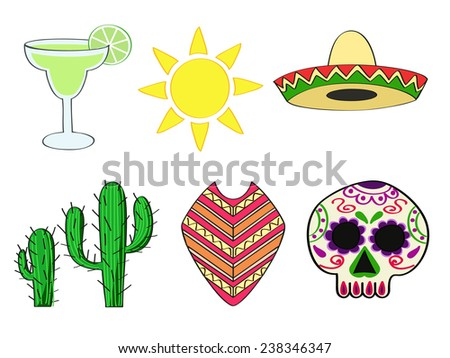 a set of traditional symbols of Mexico - stock vector