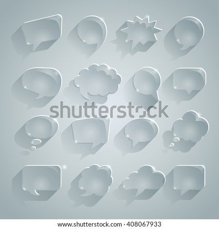 A set of translucent speech bubbles, speech bubbles ice with long shadow. Glass effect vector file. EPS 10. - stock vector
