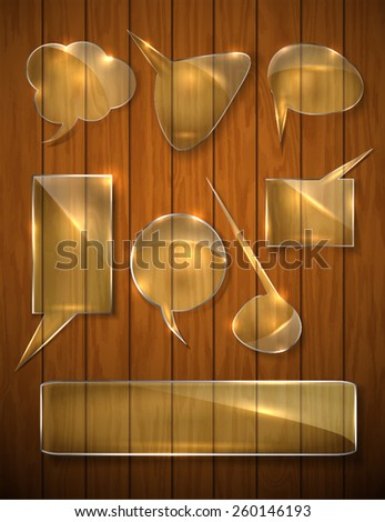a set of transparent glass shapes on wooden background. tips vector - stock vector