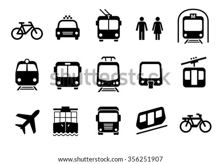 A set of transportation icons on a white background. Vector elements. Can be used in the design of interfaces for different devices. - stock vector