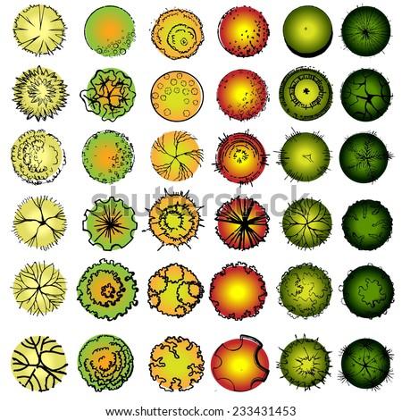 A set of treetop symbols, for architectural or landscape design  - stock vector