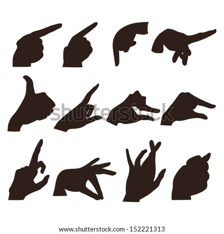 a set of twelve different  hands in various poses - stock vector