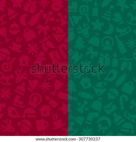 A set of two vector seamless monochrome patterns. Red and green low contrast festive backgrounds with christmas symbols.   - stock vector