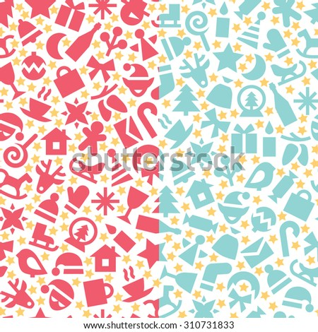A set of two vector seamless patterns. Red, yellow and blue christmas elements on white background. Colorful festive background for print or web.  - stock vector