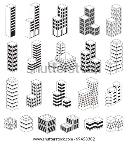 A set of urban  buildings in the isometric - stock vector