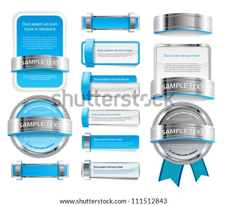 A set of various vector badges banners and buttons, of glass metal and plastic, in light blue tones - stock vector