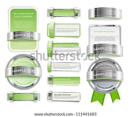 A set of various vector badges banners and buttons, of glass metal and plastic, in light green tones - stock vector