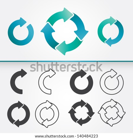 A set of vector arrows circle in colored and in black version /  Arrows Circle - stock vector