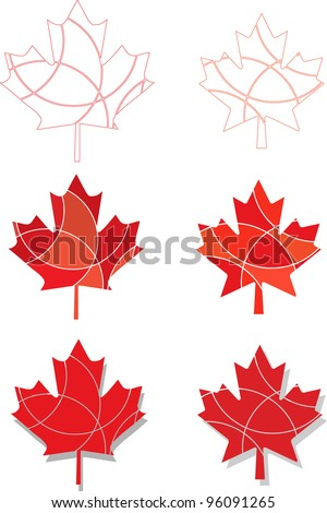 A set of vector Canadian Maple leaf icons in different shades of red - stock vector