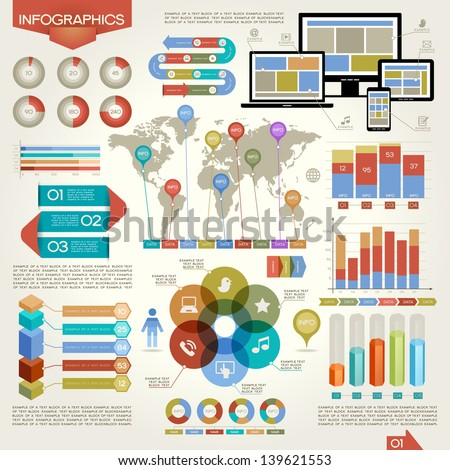 A set of vector elements of infographics. Network, business, communication. This work - eps10 vector file, contain transparent elements. - stock vector