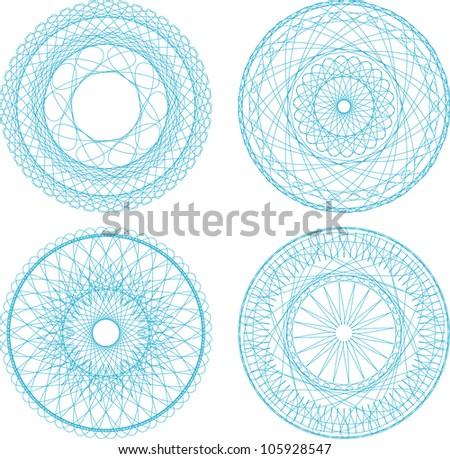 A set of vector guilloche blue seal, pattern for currency, certificate or diplomas - stock vector