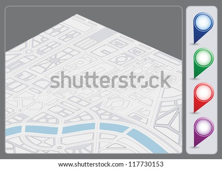 A set of vector icons isometric city map background - stock vector