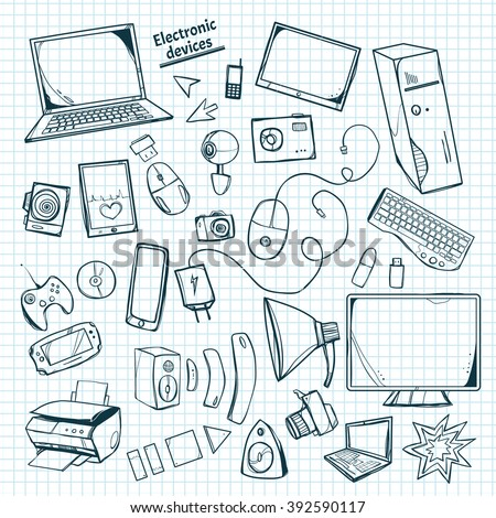 A set of vector icons painted by hand. Set with different gadgets. - stock vector