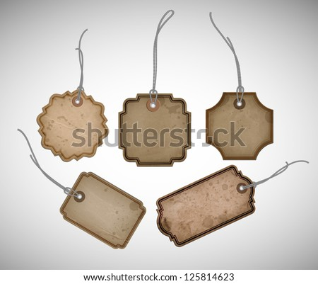 A set of vector old cardboard paper vintage tags - stock vector