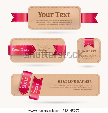 A set of vector paper banners with red ribbon. - stock vector