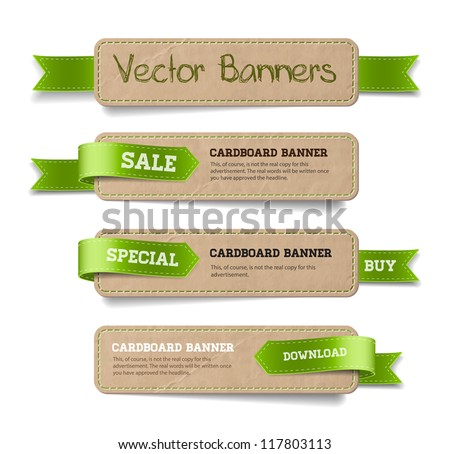 A set of vector promo cardboard paper banners decorated with green ribbon tags - stock vector