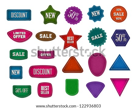 A set of vector promo rough fabric textured banners - stock vector