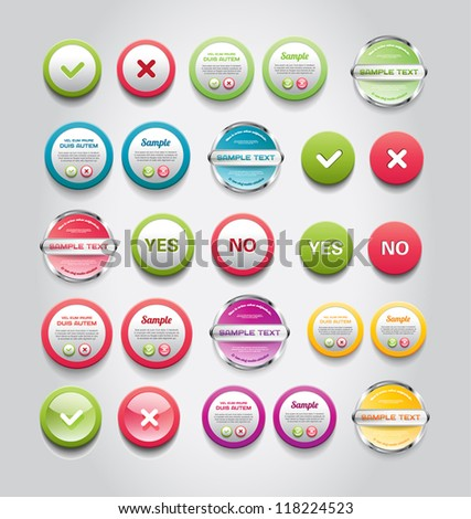 A set of vector round buttons, badges and banners - stock vector