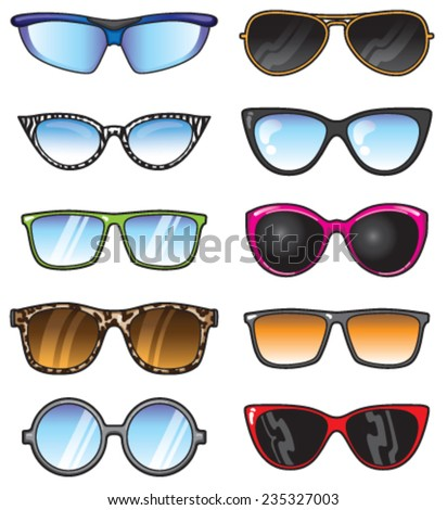 A set of vector shades in many shapes and styles.  - stock vector
