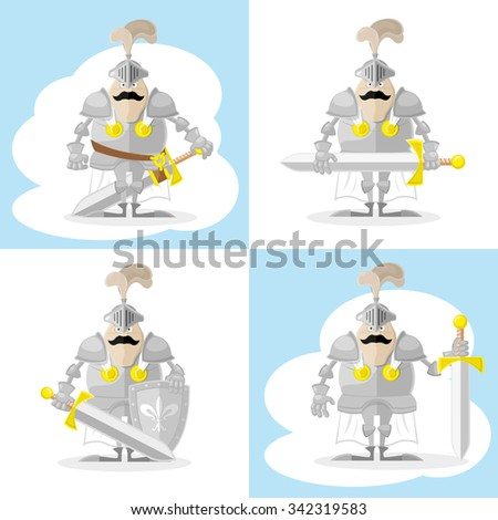 A set of vector shapes funny toy medieval knight in white cloak with weapon isolated on white background - stock vector