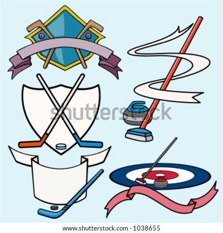 A set of 5 vector sport templates of hockey.Ready-to-cut.Pantone colors. - stock vector
