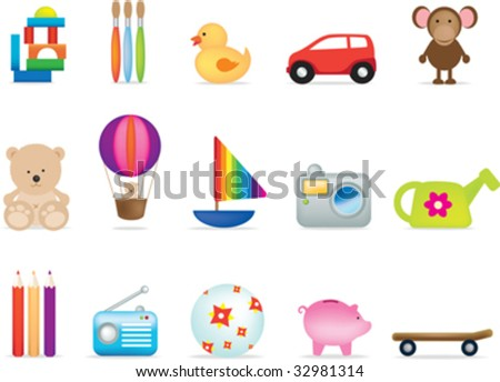 A set of 15 vector toy illustrations for under fives - stock vector