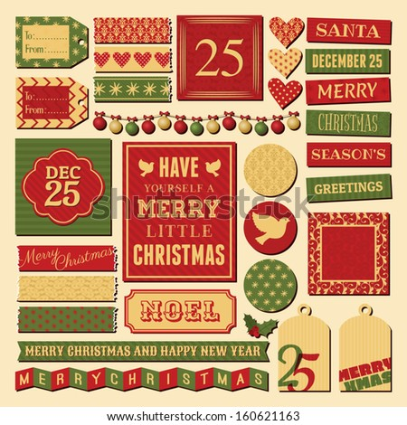 A set of vintage design elements for Christmas in traditional red, green and gold colors. - stock vector