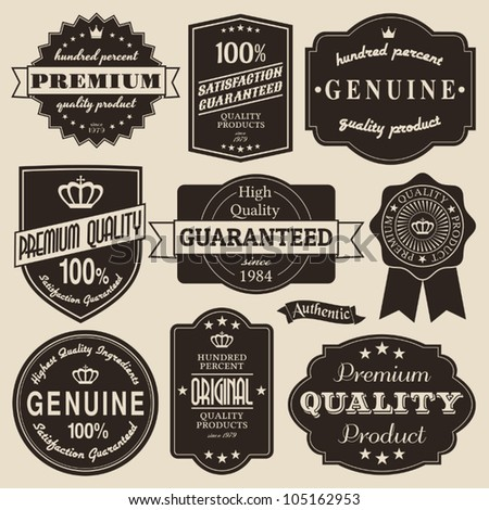 A set of vintage design labels and badges. - stock vector
