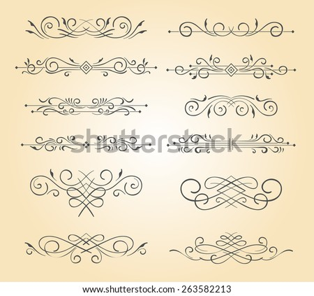 A set of vintage ornamental text divider. - stock vector
