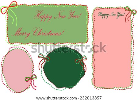 A set of vintage red and green embroidered frames of threads with bows for congratulations with happy New Year and Merry Christmas! - stock vector